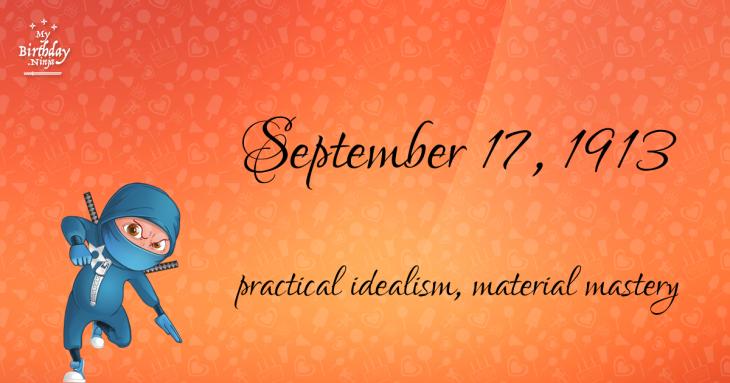 September 17, 1913 Birthday Ninja