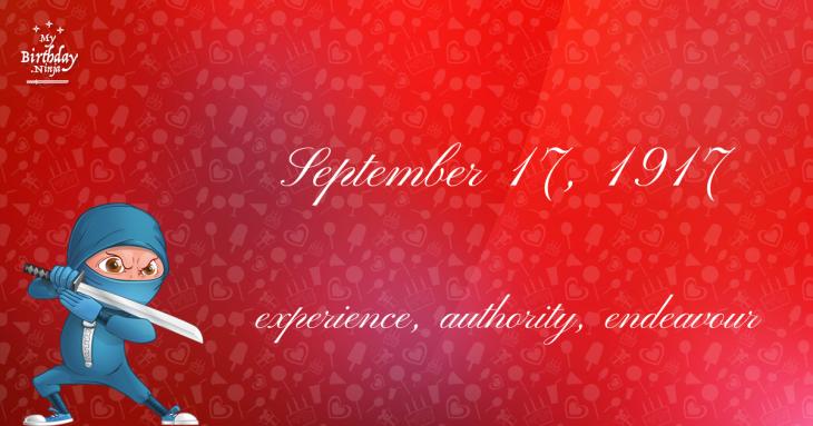 September 17, 1917 Birthday Ninja