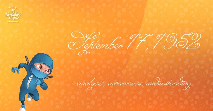 September 17, 1952 Birthday Ninja