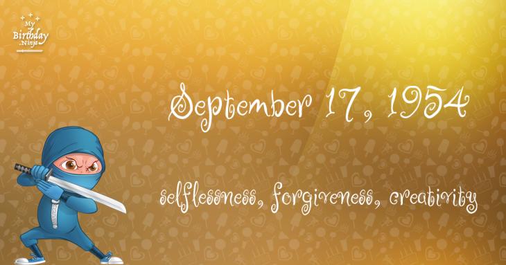 September 17, 1954 Birthday Ninja