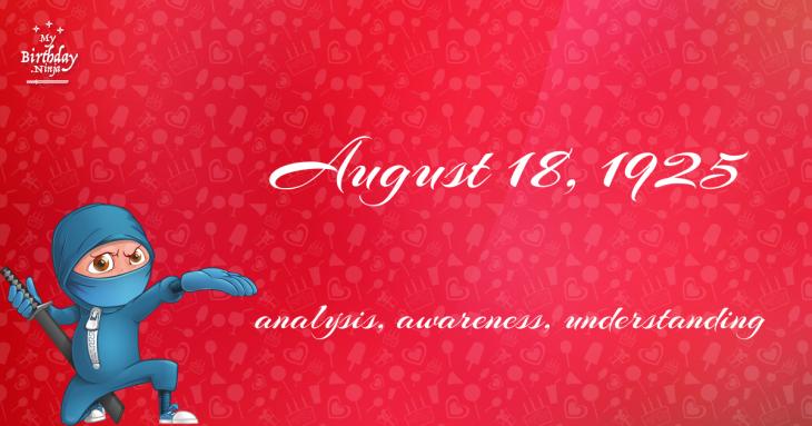 August 18, 1925 Birthday Ninja