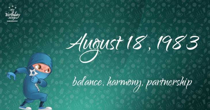 August 18, 1983 Birthday Ninja