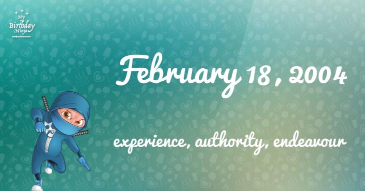 February 18, 2004 Birthday Ninja
