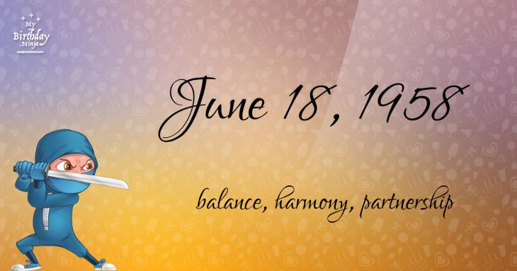 June 18, 1958 Birthday Ninja