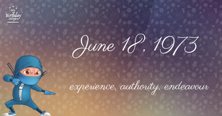 June 18, 1973 Birthday Ninja