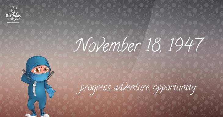 November 18, 1947 Birthday Ninja
