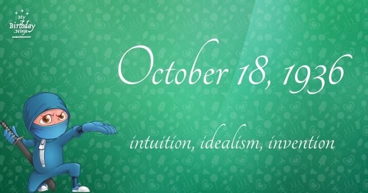 October 18, 1936 Birthday Ninja