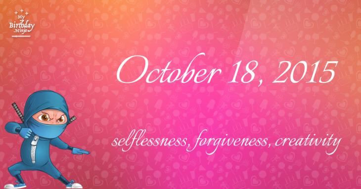 October 18, 2015 Birthday Ninja