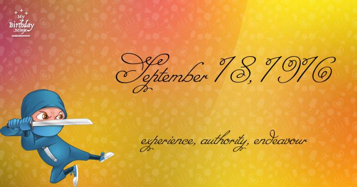September 18, 1916 Birthday Ninja