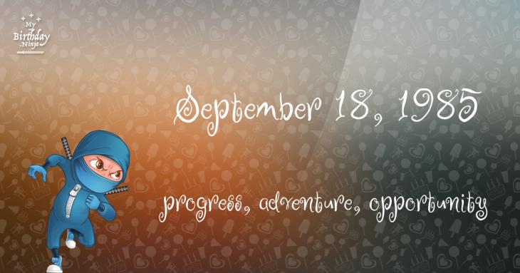 September 18, 1985 Birthday Ninja