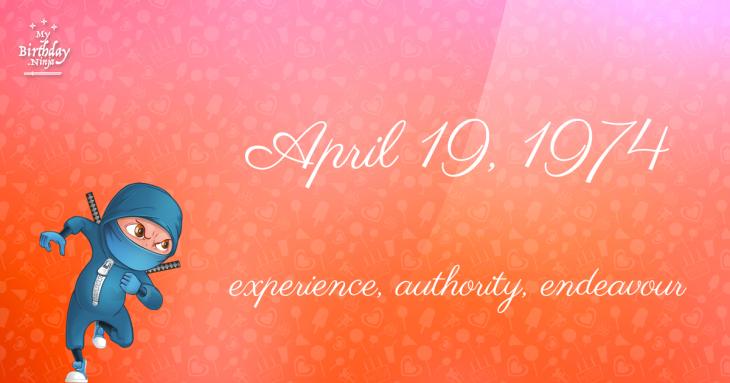 April 19, 1974 Birthday Ninja