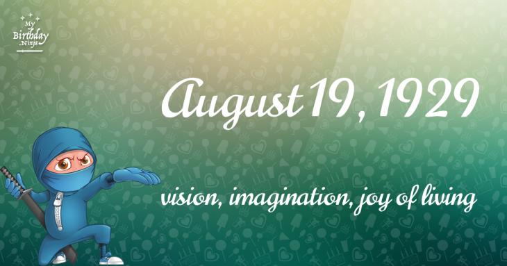 August 19, 1929 Birthday Ninja