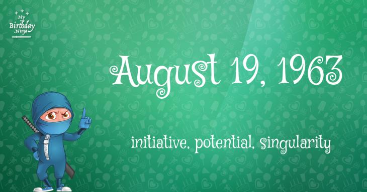 August 19, 1963 Birthday Ninja