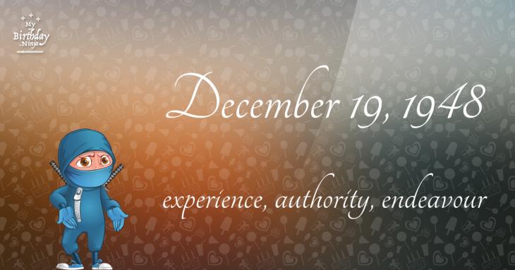 December 19, 1948 Birthday Ninja