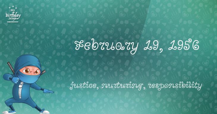 February 19, 1956 Birthday Ninja