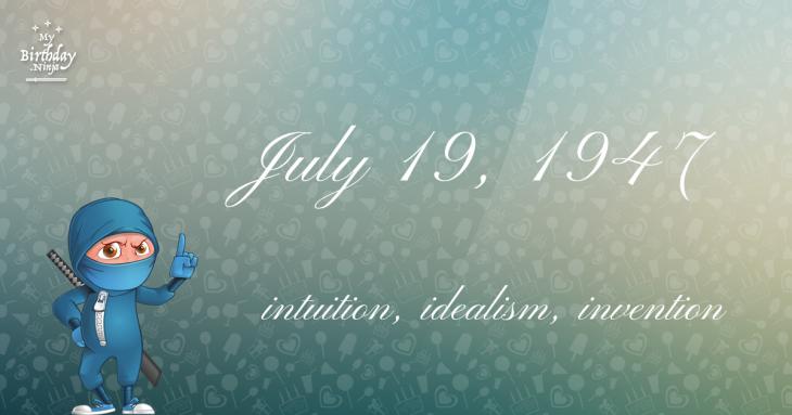 July 19, 1947 Birthday Ninja