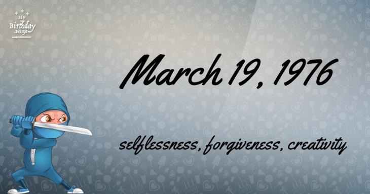 March 19, 1976 Birthday Ninja