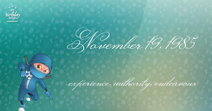 November 19, 1985 Birthday Ninja