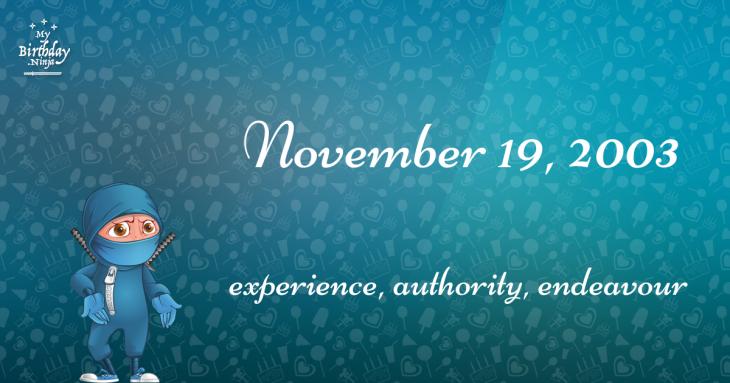 November 19, 2003 Birthday Ninja