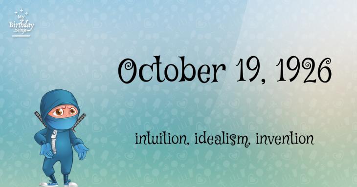 October 19, 1926 Birthday Ninja