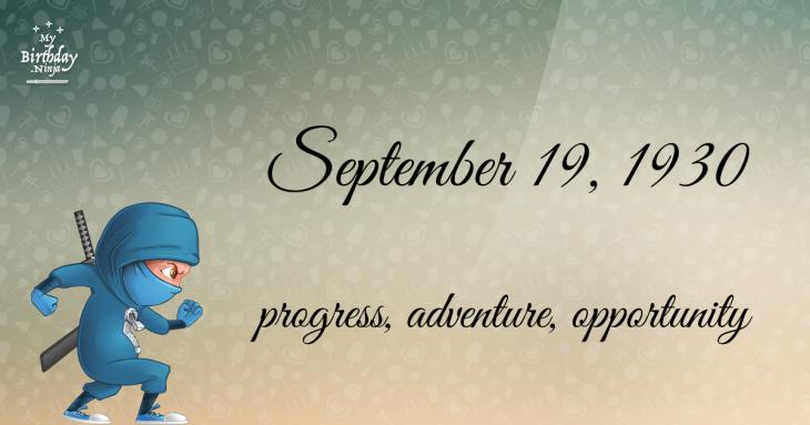 September 19, 1930 Birthday Ninja