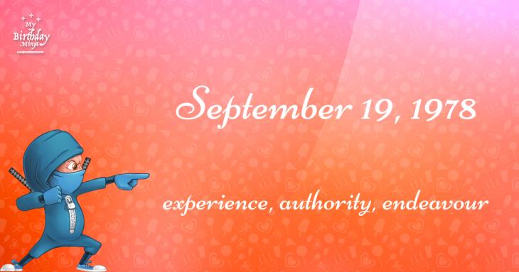 September 19, 1978 Birthday Ninja