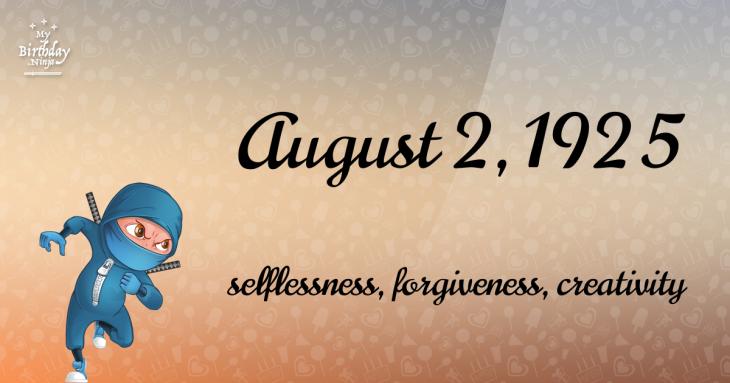 August 2, 1925 Birthday Ninja
