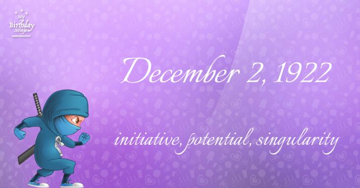 December 2, 1922 Birthday Ninja