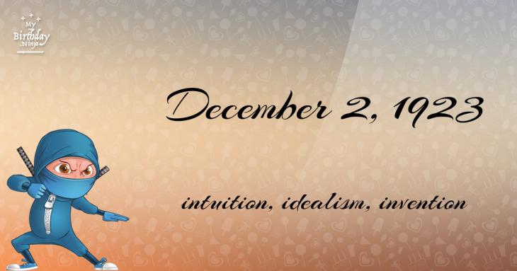 December 2, 1923 Birthday Ninja