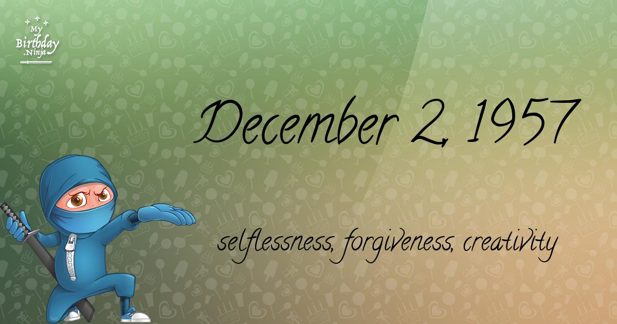 December 2, 1957 Birthday Ninja Poster