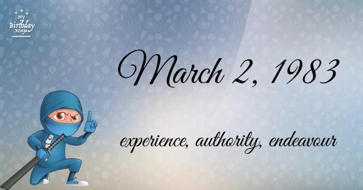 March 2, 1983 Birthday Ninja