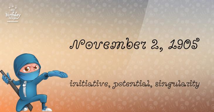 November 2, 1905 Birthday Ninja