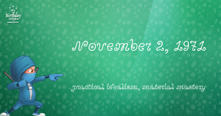 November 2, 1971 Birthday Ninja