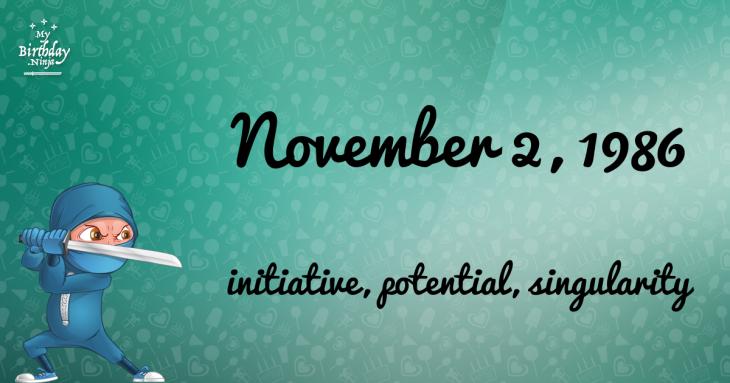 November 2, 1986 Birthday Ninja