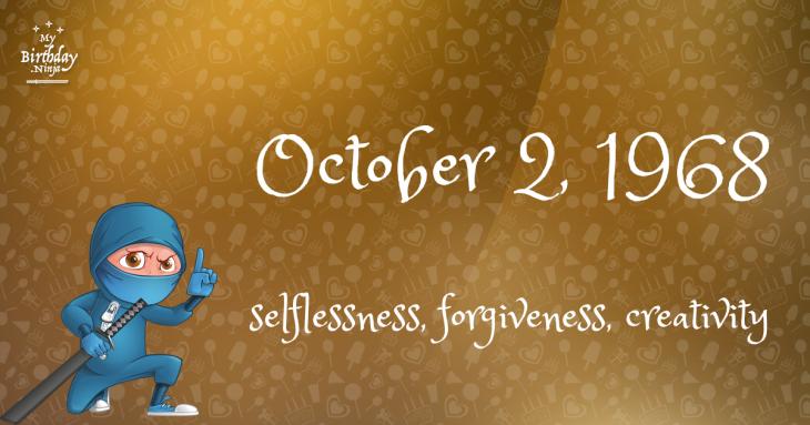 October 2, 1968 Birthday Ninja