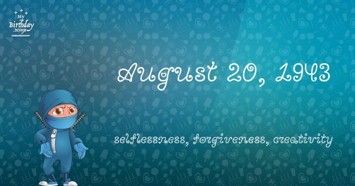 August 20, 1943 Birthday Ninja