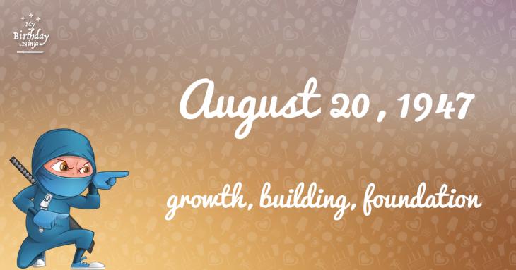 August 20, 1947 Birthday Ninja