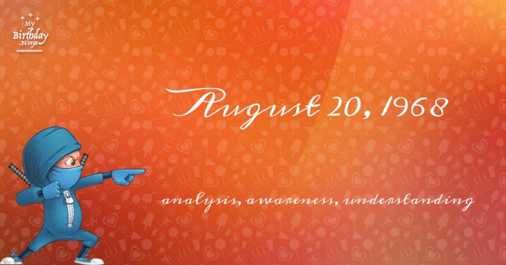 August 20, 1968 Birthday Ninja