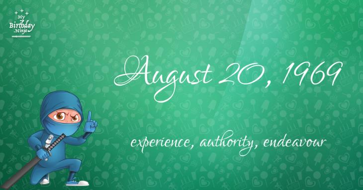 August 20, 1969 Birthday Ninja
