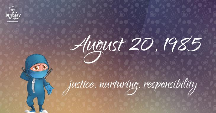 August 20, 1985 Birthday Ninja