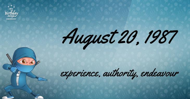 August 20, 1987 Birthday Ninja