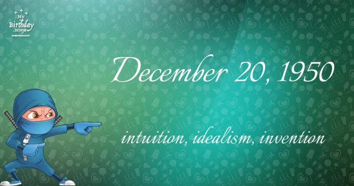 December 20, 1950 Birthday Ninja