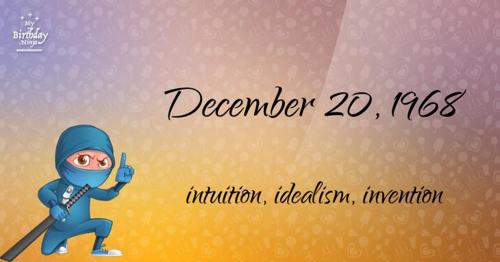 December 20, 1968 Birthday Ninja