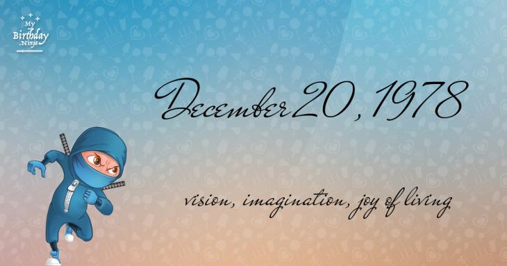 December 20, 1978 Birthday Ninja