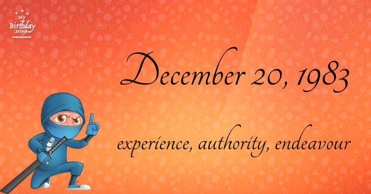 December 20, 1983 Birthday Ninja