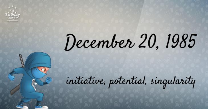 December 20, 1985 Birthday Ninja