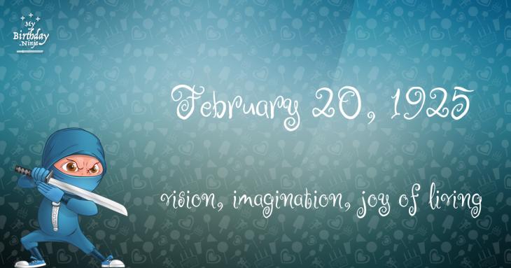 February 20, 1925 Birthday Ninja