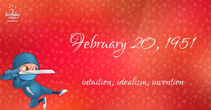 February 20, 1951 Birthday Ninja