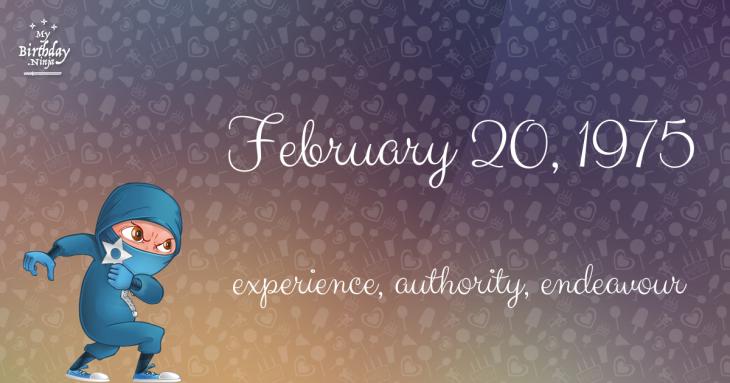 February 20, 1975 Birthday Ninja