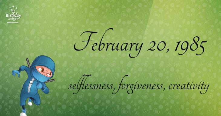February 20, 1985 Birthday Ninja